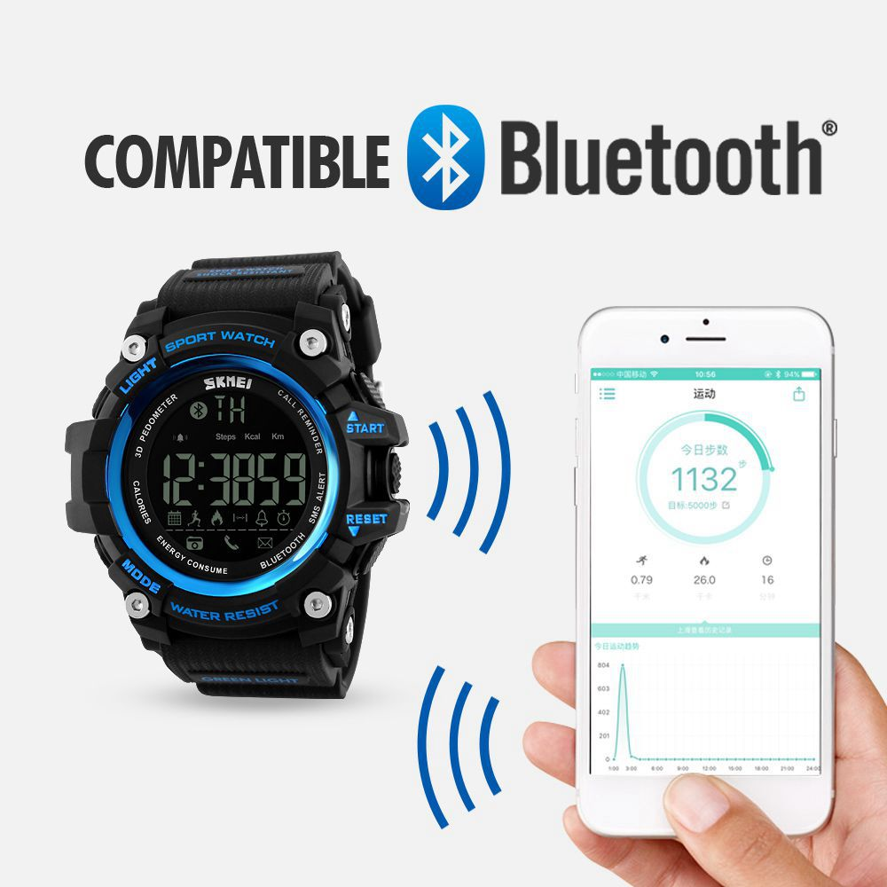SKMEI Smart Sport Watch Men Bluetooth Multifunction Fitness Watches 5Bar Waterproof digital watch LED Clock reloj hombre 1227