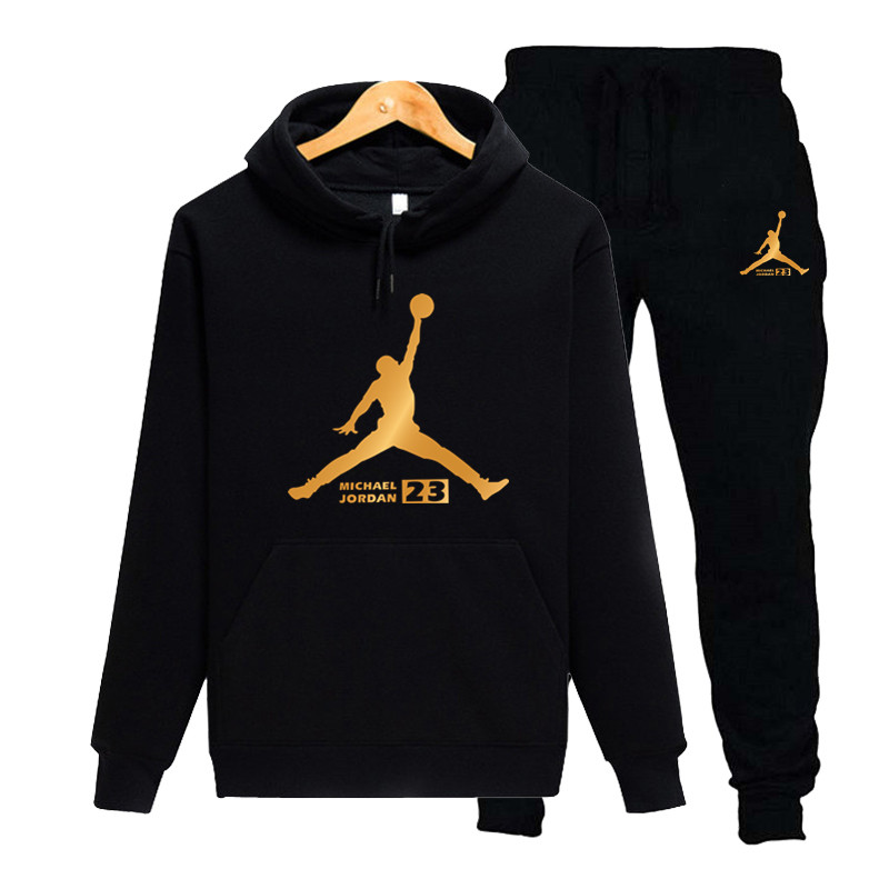 New Men Hoodies Suit Fleece Warm Jordan 23 Tracksuit Men Sweatshirt Suit Hoodie+Sweat Pants Jogging Homme Hooded Tracksuit 2XL