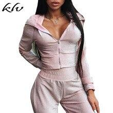 Women Shiny Sequined Casual Sweatsuit Tracksuit Zipper Up Hoodies Hooded Sweatshirt Harem Pants Trousers 2Pcs/set Knit Outfits