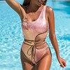 Model One Shoulder Snakeskin Beachwear