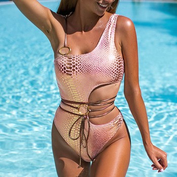 Model One Shoulder Snakeskin Beachwear