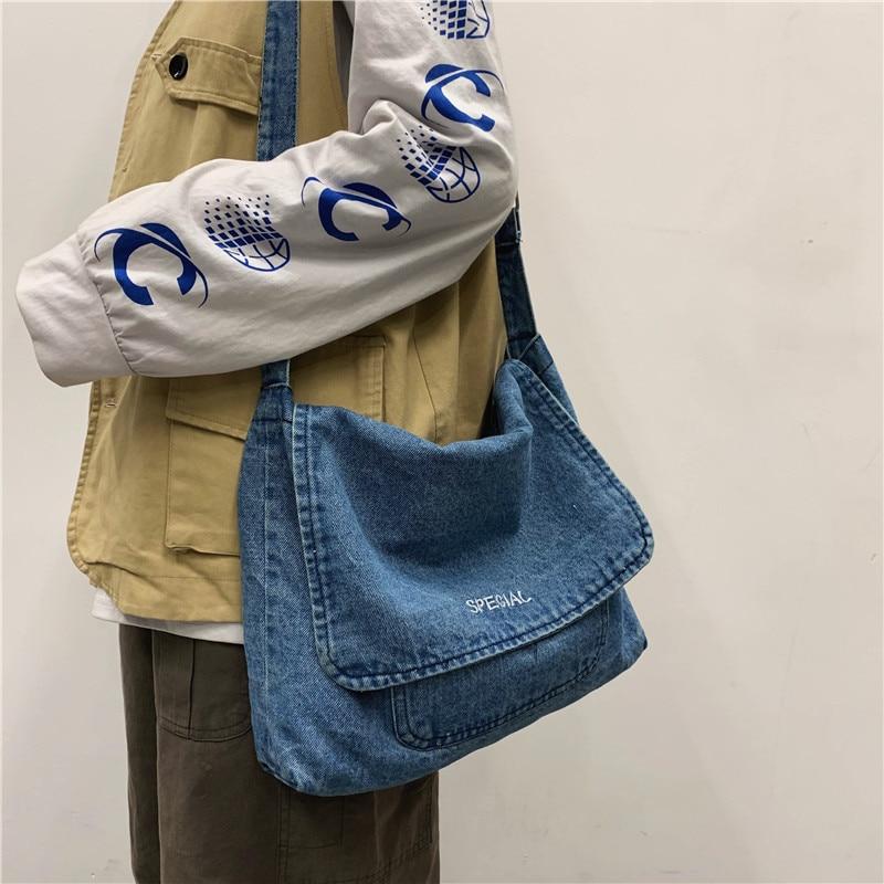 Denim Handbag Big Capcity Tote Bags for Women Men Fashion Classical Casual Leisure Beach Summer Top-handle Purse Shoulder Bag