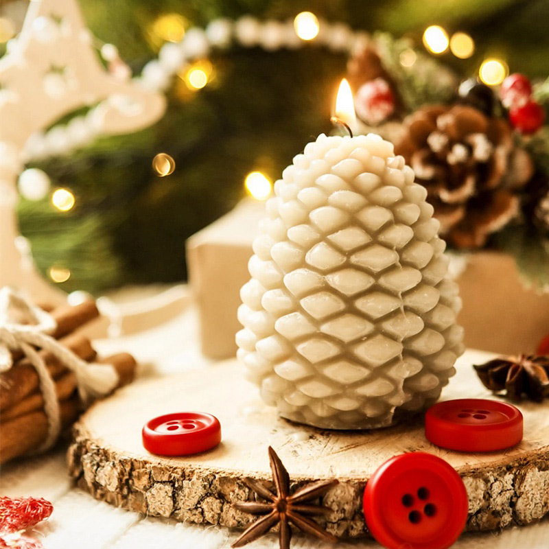 3D Christmas Pine Cone Silicone Candle Mold Beeswax Pinecone Candle Making Mould DIY Handmade Aromatherapy Candles