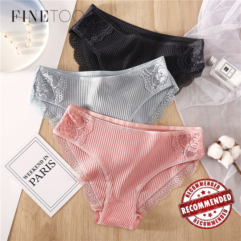 Cotton Women's Panties Sexy Lace Underwear Solid Color Striped Briefs For Women M-XL Sexy Underpants Comfortable Female Lingerie