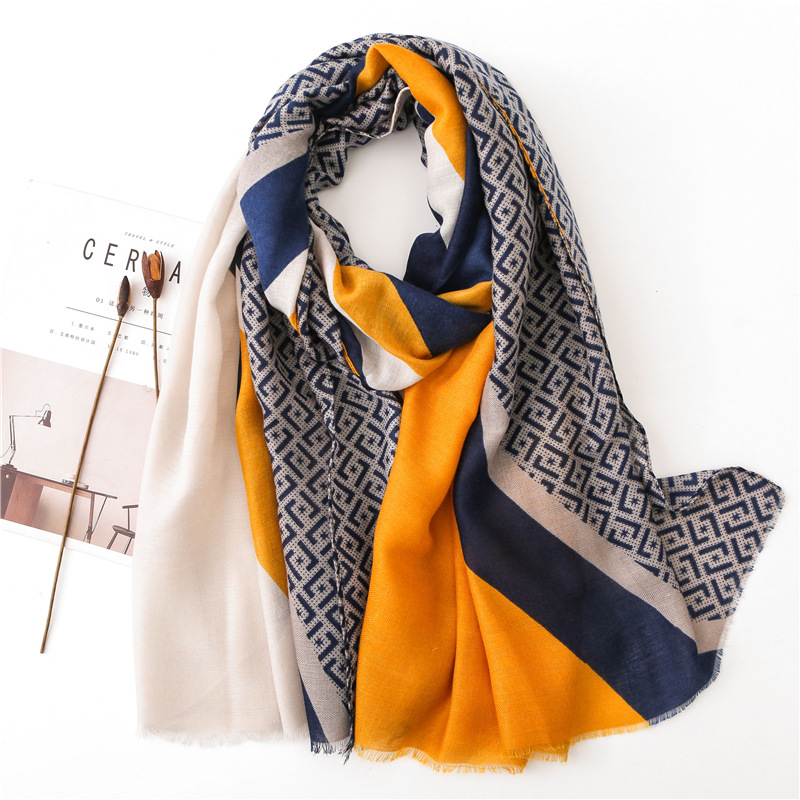 Yellow Polyester Cotton Long Scarf Women Blue Letter-Print Panel Holiday Sunscreen Shawl Dual-Use