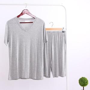Image 4 - Summer Modal Pajama Sets Thin Short Sleeve T shirt Shorts Sleepwear Mens Casual Set 2 Piece V Neck Solid Color Home Clothing