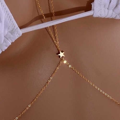 Seksowny damski łańcuszek do ciała uprząż Crossover Crossover Star Bikini Body brzuch talia naszyjnik łańcuch biżuteria letnia odzież fajny prezent