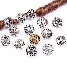 5PCS Retro Alloy Viking Hollow Round Hair Braid Dread Beard Dreadlock Beads Rings Tube For Hair Accessories Hole Size 4.5mm New