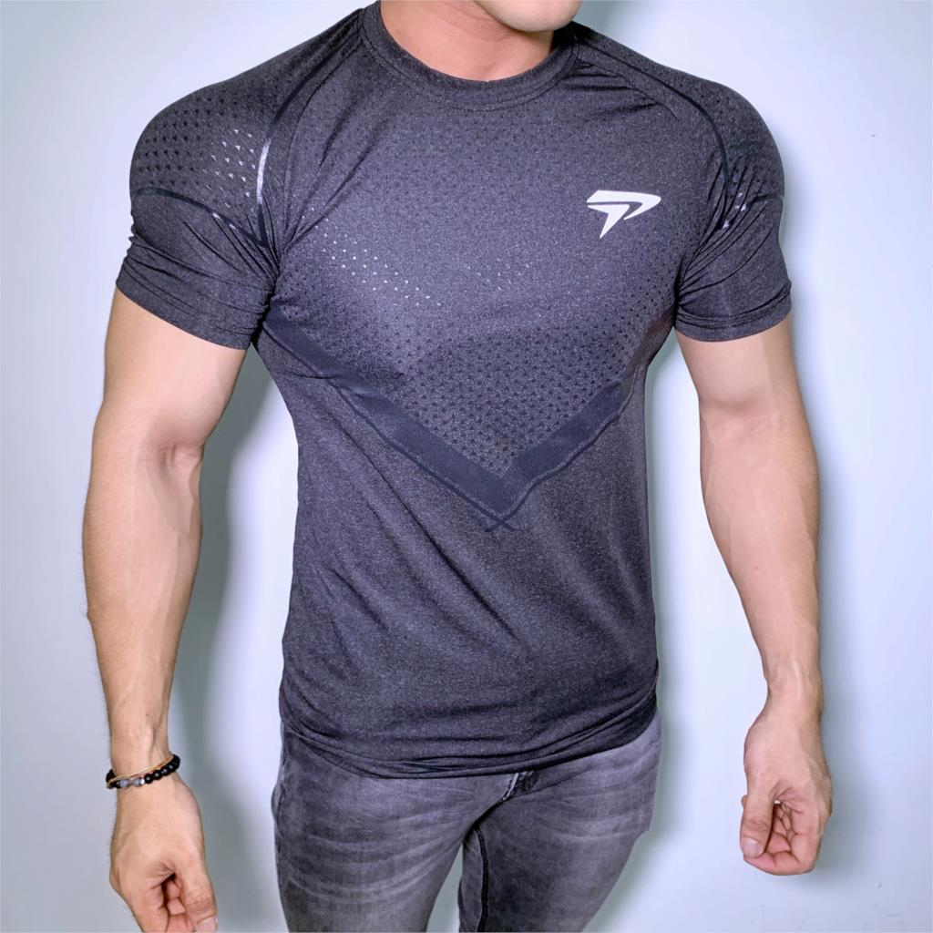 New Running Sport T-shirt Mens Skinny Quick dry Shirts Gym Fitness Training Superelastic Tee Tops Male Jogging Workout Clothing 4