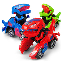 Deformation Electric Dinosour Car Toy Universal Wheel Transformation Robot Vehicle With Lights Sounds  Gift For Kids