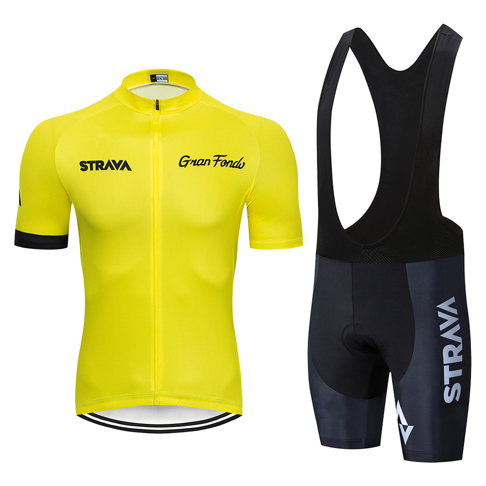 2020 <font><b>STRAVA</b></font> Pro Team summer cycling Jersey set Bicycle Clothing Breathable Men Short Sleeve <font><b>shirt</b></font> <font><b>Bike</b></font> bib shorts 20D Gel pad image