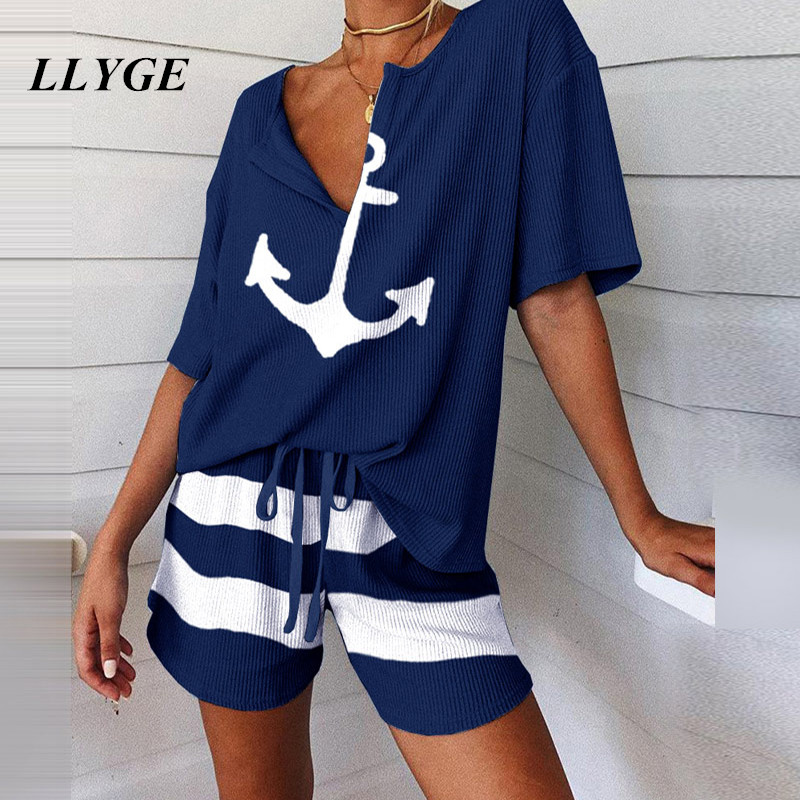 2020 Striped Women's Pajamas Suit Casual Two Pieces Loose Pajamas Suits Woman Spring Summer New Fashion Ladies Nightwear Sets