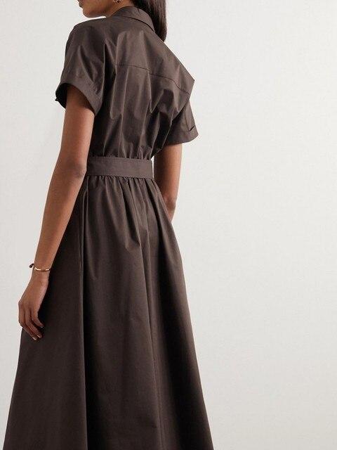 Safari Style Deep Coffee Dress  belted 2
