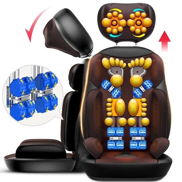 Shiatsu silla eléctrica de masaje corporal multifuncional, cojín de calefacción con vibración para relajación, cuello, espalda, oficina y hogar