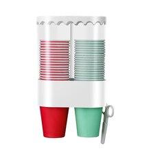 Дозатор для одноразовых стаканчиков стеллаж для хранения пластмассовый Автоматическая Полка домашний офис пыленепроницаемый контейнер Экономия пространства для удаления настенный