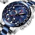 Relogio Masculino LIGE Горячая Мода для мужчин s часы лучший бренд класса люкс наручные часы кварцевые часы синие часы для мужчин водонепроницаемый хр...