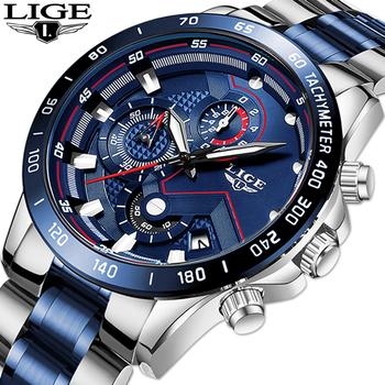 Relogio Masculino LIGE Hot moda męskie zegarki Top marka luksusowy zegarek kwarcowy zegar niebieski zegarek mężczyźni wodoodporny chronograf tanie i dobre opinie 22cm Moda casual QUARTZ 3Bar Klamerka z zapięciem CN (pochodzenie) STAINLESS STEEL 13mmmm Hardlex Kwarcowe zegarki Papier