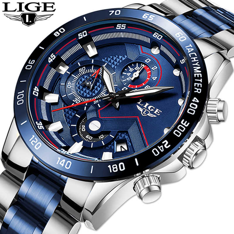 レロジオ masculino lige ホットファッションメンズ腕時計トップブランドの高級腕時計クォーツ時計ブルー腕時計メンズ防水クロノグラフ