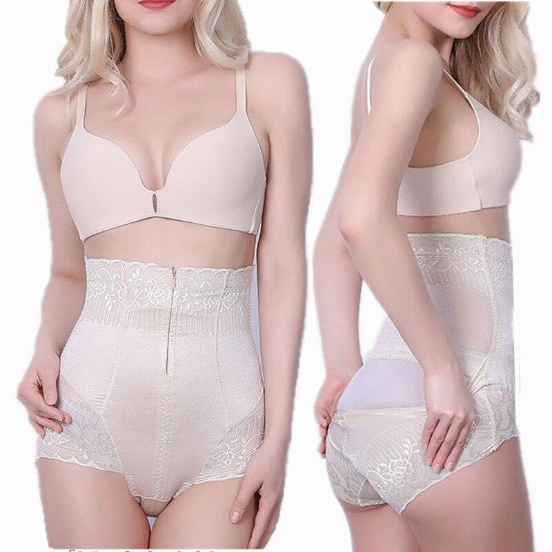 Calcinha de controle de cintura alta feminina zíper breasted tamanho grande emagrecimento calcinha moldar barriga abdominal shaper volta aberta fácil de wc