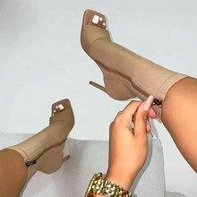Botas femininas Sexy Peep Toe Ankle Boots 2020 Mulher Moda Zip Salto Alto Feminino Tamanho Grande 43 Bombas Femininas Outono