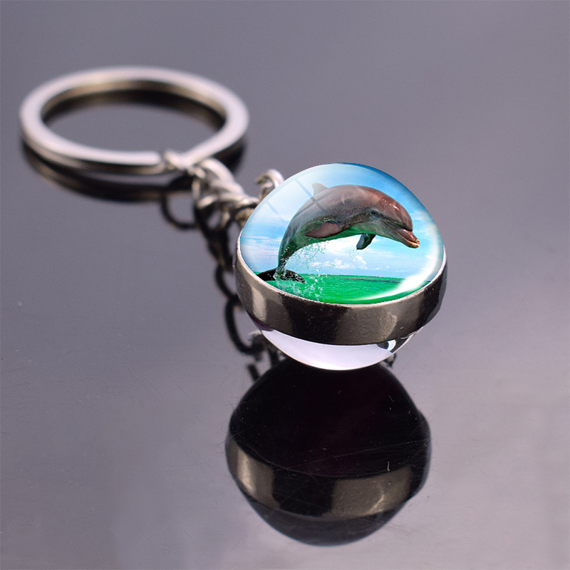 Dolphin Keychain Dolphins Stuff Glass Ball Key Chain Ocean Animal Keyring Key Buckle Silver Metal Key Rings Ball Pendant