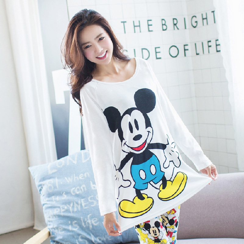 Mickey Women Pajamas Set Minnie Girl Sleepwear Pijama Long Women Pyjamas Suit Female Clothing Set 2019 Nightwear
