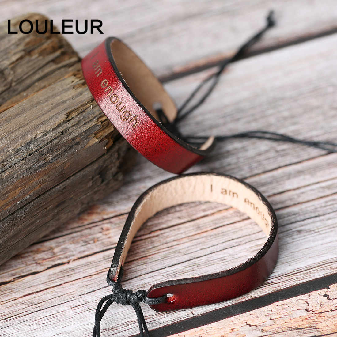 Customized Men's Vintage Brown Letter Genuine Leather Bracelets Wristband Bangles Adjustable Male Jewelry clearance deal