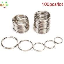 100 pçs diâmetro 12 15 16 20mm aço inoxidável diy polido anel rachado keyrings chaveiro hoop loop chave titular