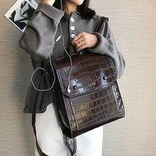Vintage Pu Leather Women Backpack Preppy Style Backpacks Fashion School Bag for College Girl Stone Shoulder Mochila Feminina