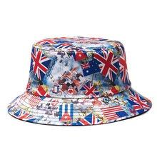 Флаг США Великобритания мужская шляпа Панама женская реверсивная