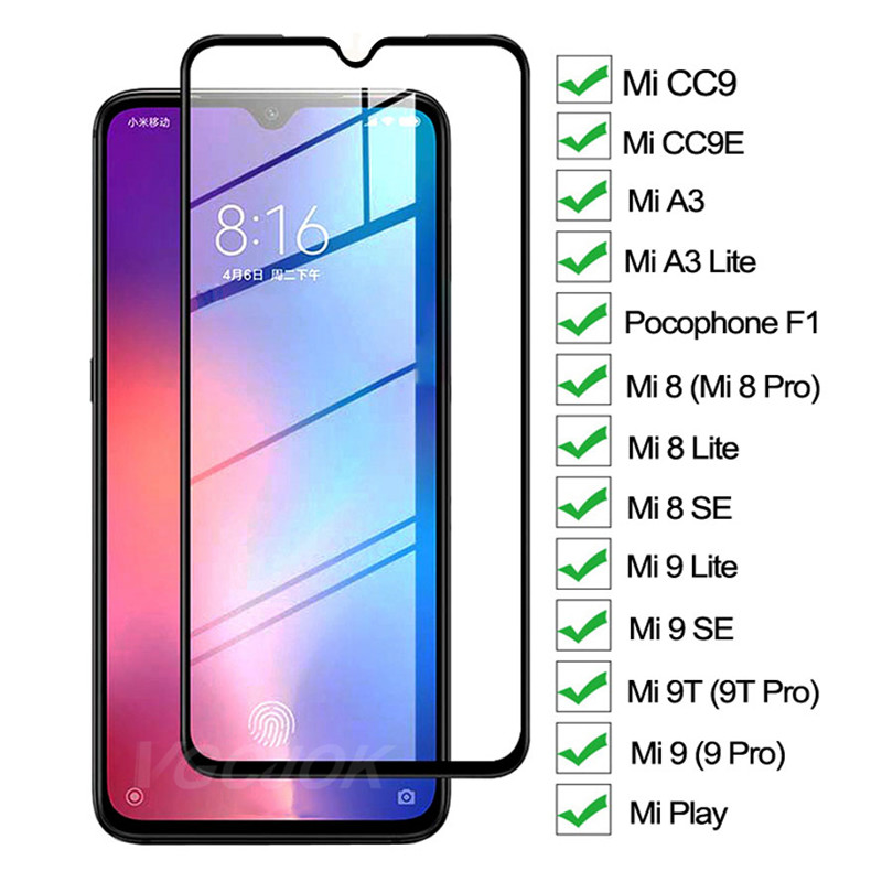 9D Protective Glass On For Xiaomi Mi 8 9 A3 Lite Mi8 Mi9 SE CC9 CC9E Screen Protector For Mi 9T Pro Play Pocophone F1 Glass Film