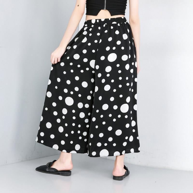 Korean Style Cotton   Wide     Leg     Pants   Button Women High Elastic Waist Black Dot Printed Trousers
