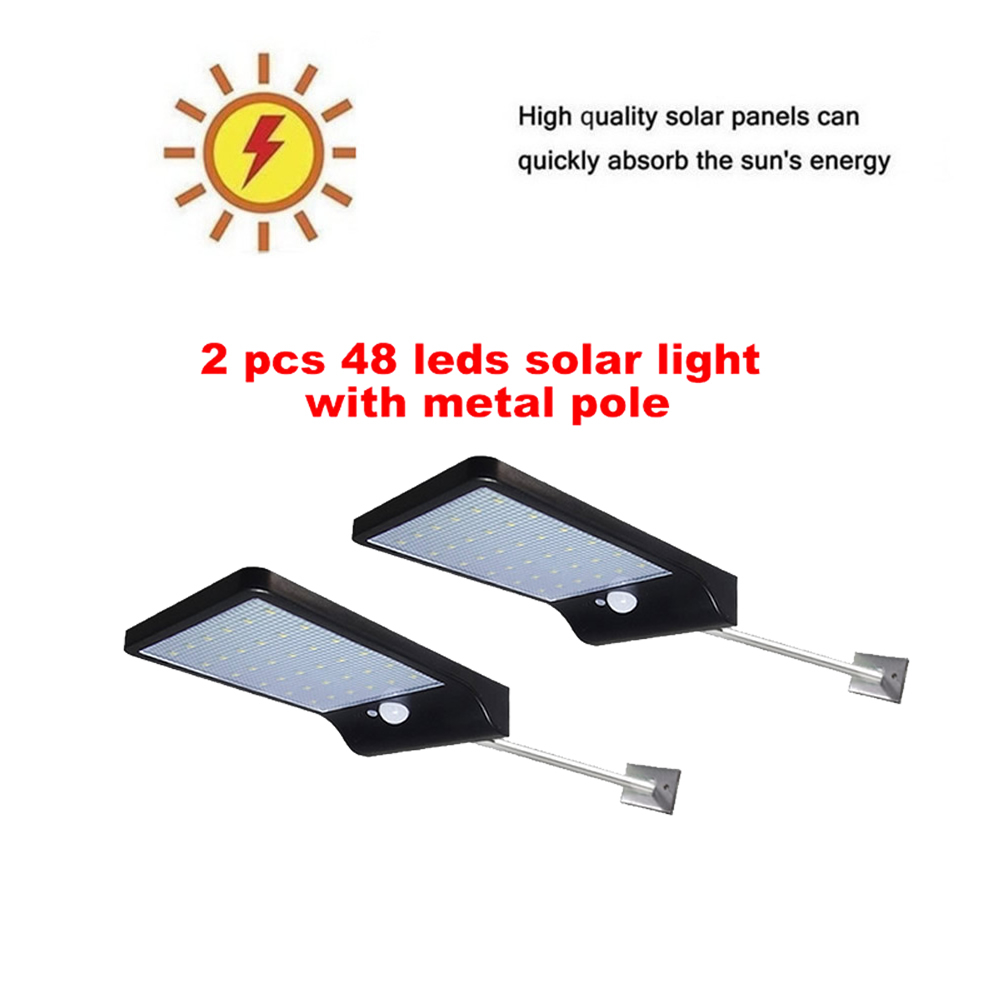 2/4pcs Led Solar Light Outdoor Waterproof Lighting For Garden Wall 48 Leds Four Modes Rotable Pole Solar Lamp Security Garden Wa