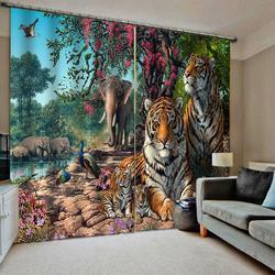 Тигровые шторы 3D затемненные шторы для гостиной постельные принадлежности комнатные шторы Cotinas