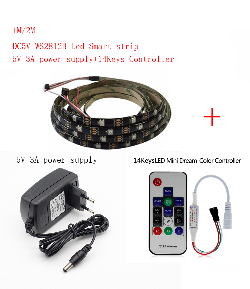 1-2m DC5V <font><b>WS2812B</b></font> Led Strip 30pixels/leds/m WS2812 IC Smart <font><b>5050</b></font> <font><b>RGB</b></font> led Strip light+5V LED Power Supply + LED Controller image