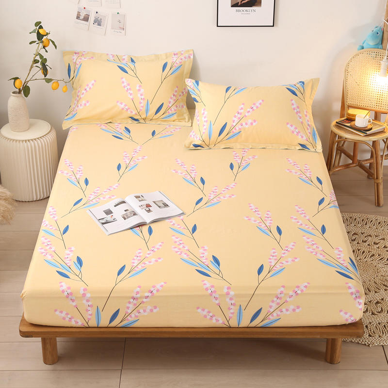 1 pc Fitted Bed Sheets 100% Cotton Single Size lencol solteiro Floral Style Mattress Cover With Elastic For Double Bed For Adult