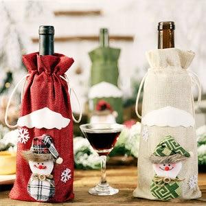 Image 3 - Последняя Рождественская бутылка вина пылезащитный чехол сумка новый год 2021 подарок на Рождество украшение для дома Санта Клаус рождественские подарки