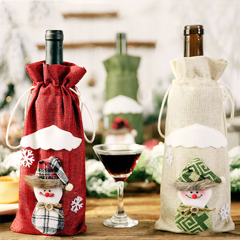 Image 3 - Latest Christmas Wine Bottle Dust Cover Bag New Year 2020 Xmas Gift Christmas Decoration for Home Santa Claus Christmas Presents-in Stockings & Gift Holders from Home & Garden