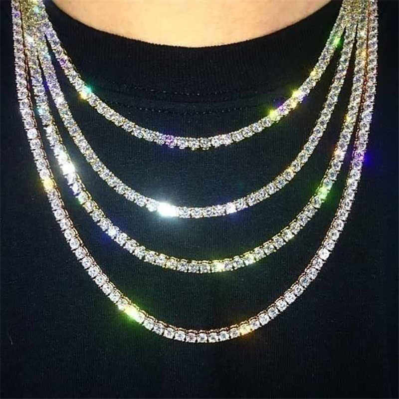 Punk Hiphop Rhinestone Tennis Chain Necklace Men Women Silver Gold Iced Out Chain Link Necklace Mens Jewelry 6mm Tennis Chain