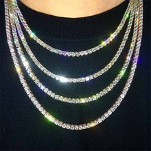Punk Hiphop Rhinestone Tennis Chain Necklace Men Women Silver Gold Iced Out Link Mens Jewelry 6mm