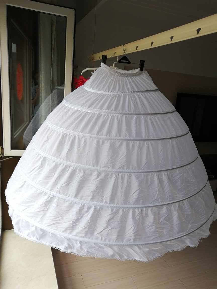 Plus Size Large Steel Wedding Bags 6 Bride Dress Extra Large Sliding Steel White 6 Hoops Petticoat Crinoline Slip Petticoat