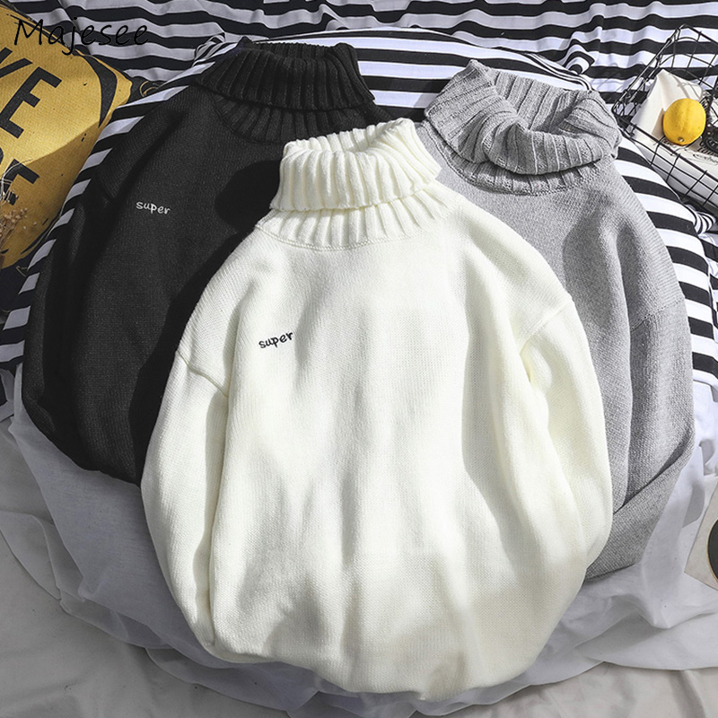 Men Winter Sweater Letter Turtleneck Casual Long Sleeve Top Mens Sweaters High Quality Pullover All Match Males Korean Clothes