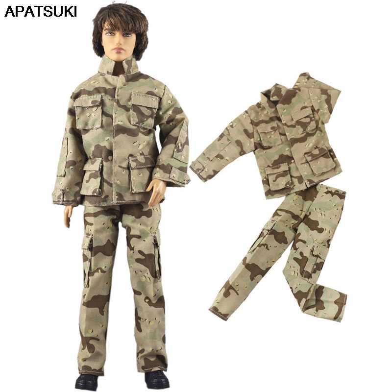 الجيش الجندي تأثيري 1/6 الصبي ملابس دمى ل كين دمية معطف و بنطلون السراويل ل باربي Boyfriend كين الأمير الذكور دمية الاطفال