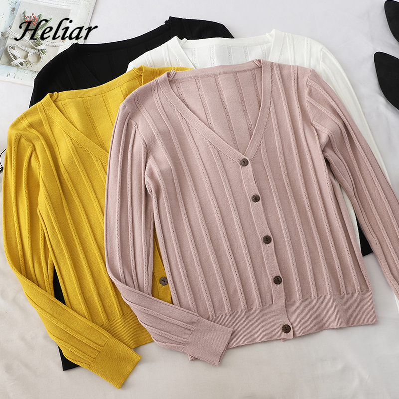 Heliar Women Yellow Gaps Cardigans Solid Plain V-Neck Loose Knitting European Style Sweater Women Casual 2019 Autumn Sweater