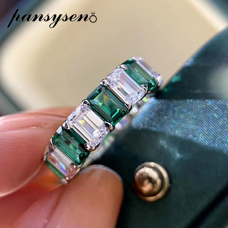 PANSYSEN Original Design Emreald Created Moissaite Gemstone Rings for Women Real 925 Sterling Silver Round Couple Ring Wholesale