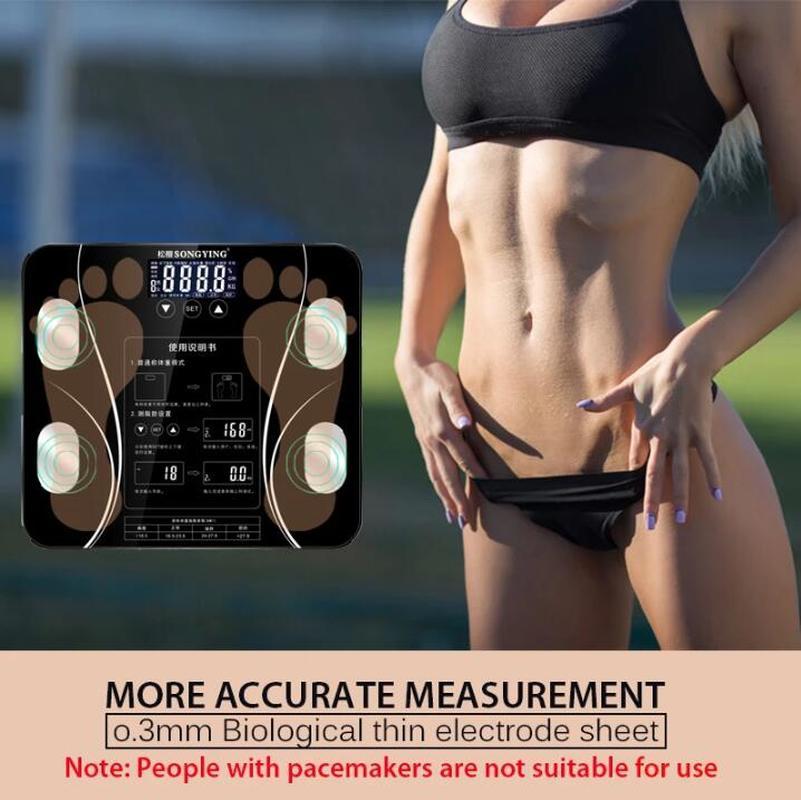 B mi Skala Digital Menschlichen Gewicht mi Waagen Boden lcd display Körper Index Elektronische Smart Wiegen USB lade Bad Körper fett-in Personenwaage aus Heim und Garten bei Huashida trading Store