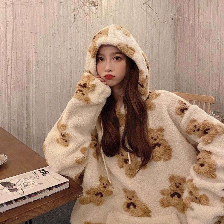 Женская толстовка из овечьей шерсти с рисунком медведя, Корейская спортивная одежда, новинка, свободная спортивная рубашка, женская блузка,...