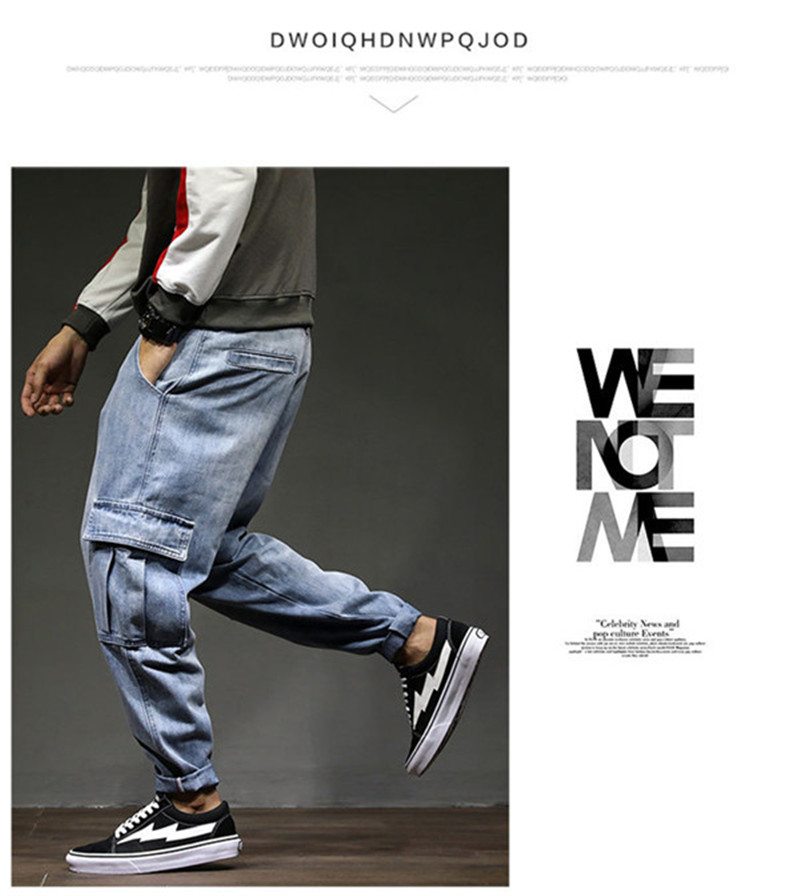 Men`s Casual Cargo Pants 2018 New Fashion Autumn Male Denim Jeans Pants Hip Hop Loose Embroidery Multi-pockets Trousers 28-42 (3)