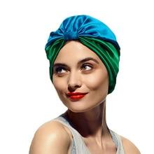 Women Elastic Silky Satin Bonnet Salon Sleep Cap Turban New Curly Hair Head Cover Chemo Hat Beanie Head Wrap Hair Accessories