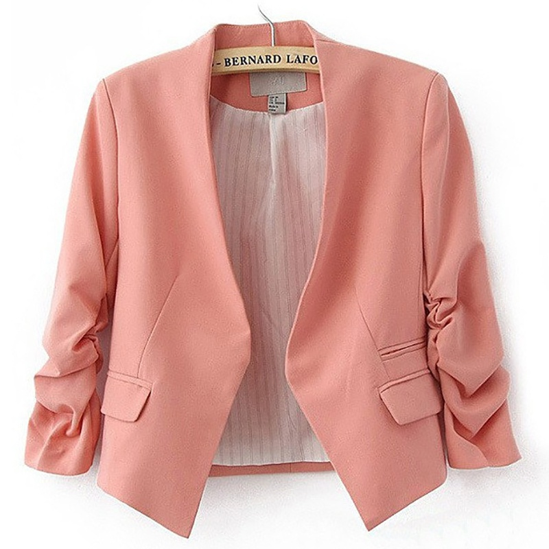 Ladies Blazer Long Sleeve Feminine Blazer Femme Pink Blue White Black Blazer Autumn Women Suit Jacket